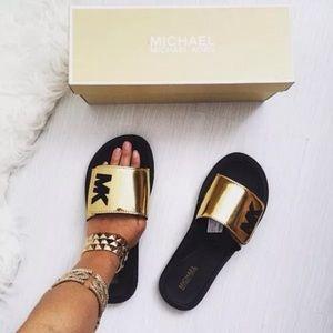 2ace250034e3 Michael Kors Shoes - New MICHAEL KORS MK Mirror Metallic Gold Slides 8